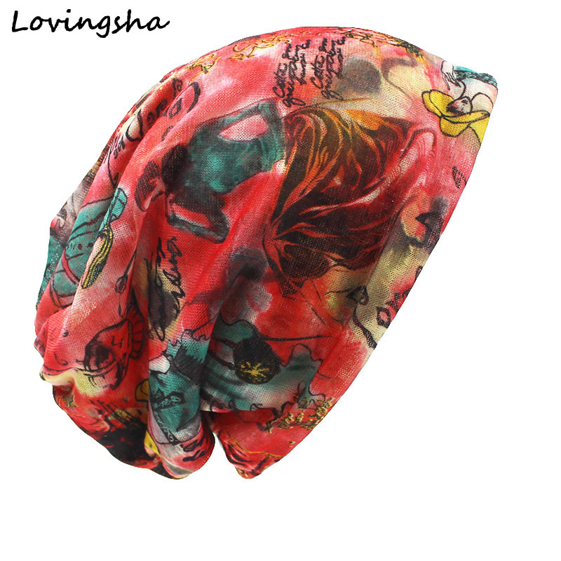 LOVINGSHA Autumn Winter Dual-use Hats For Ladies Thin Chinese Paintings Design Skullies And Beanies Women Scarf Face Mask HT018