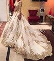 Apliques de ouro rendas vestidos de noiva muçulmanos vestido de casamento de Organza trem da varredura Bling vestidos de casamento Zipper voltar Custom made