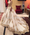 Gold Lace applique Bridal Gowns Muslim Wedding Dress Organza Sweep Train Bling Wedding Gowns Zipper Back Custom made
