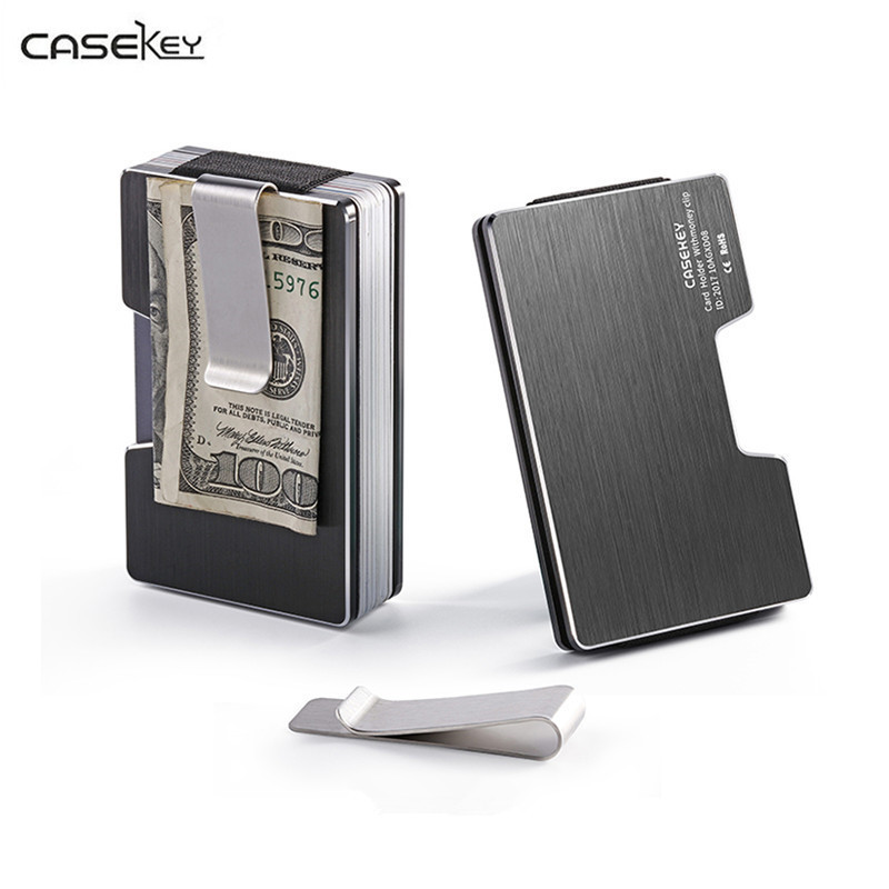 Unisex Business wallet Case ID Credit Card Holder Stainless Steel Pocket Box