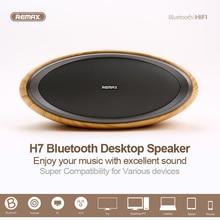 лучшая цена REMAX RB- H7 Bluetooth 4.2 NFC Speaker Subwoofer Vibration 2 Tracks 3D Wooden Cover Desktop Wireless Oval Shape Modern Fashion