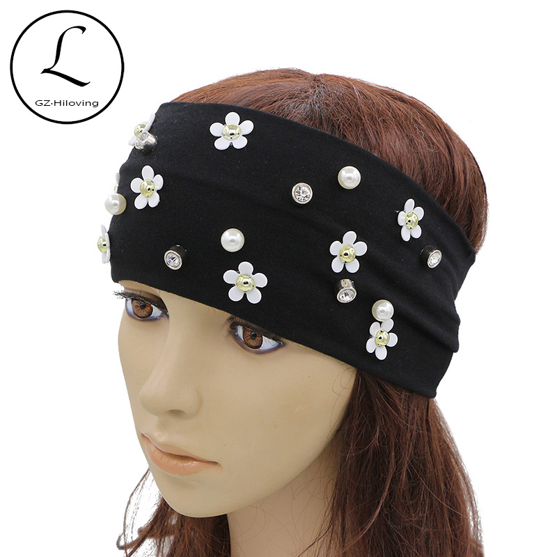 GZHILOVINGL 2017 Hot New Summer Headwear Black Stretch Wide Cotton Headband Hair Accessories Pearl Flower Headbands High Quality купить