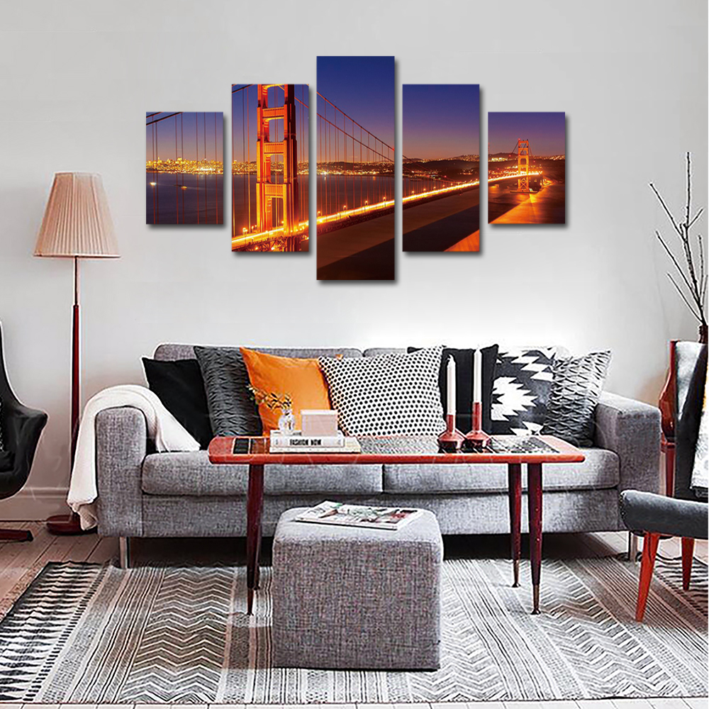 Unframed 5 panel HD Canvas Wall Art Giclee Painting Modern Golden Gate Bridg Landscape For Living Room Home Decor Unframed