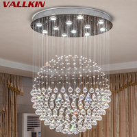 Modern K9 Large LED SphericLiving Room Crystal Chandeliers Lighting Fixture for Round Indoor Lamp Showcase Bedroom Hotel Hall