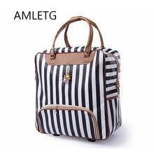 Новые модные женские туфли тележка чемодан для багажа на колесиках бренд повседневное в полоску Rolling Case Дорожная сумка на колёса чемодан