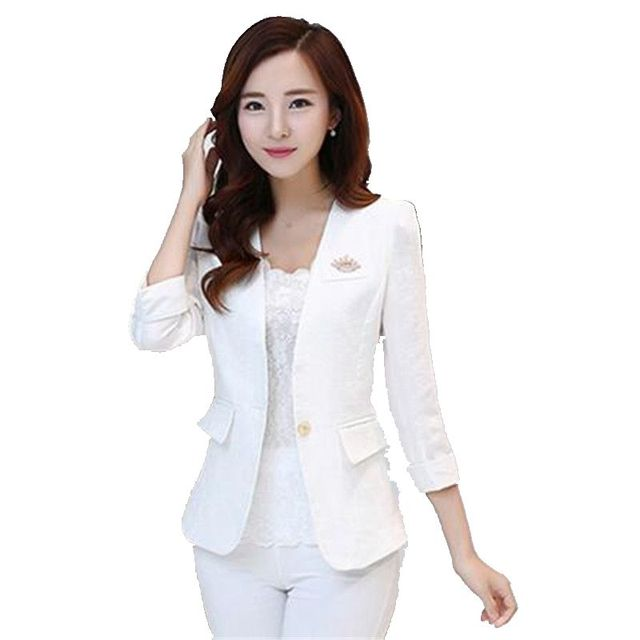 Women Autumn Office Suit New Style Elegant Slim Suit Professional Leisure Big yards Suit 7 minutes sleeve V-neck Sexy Suit G2667