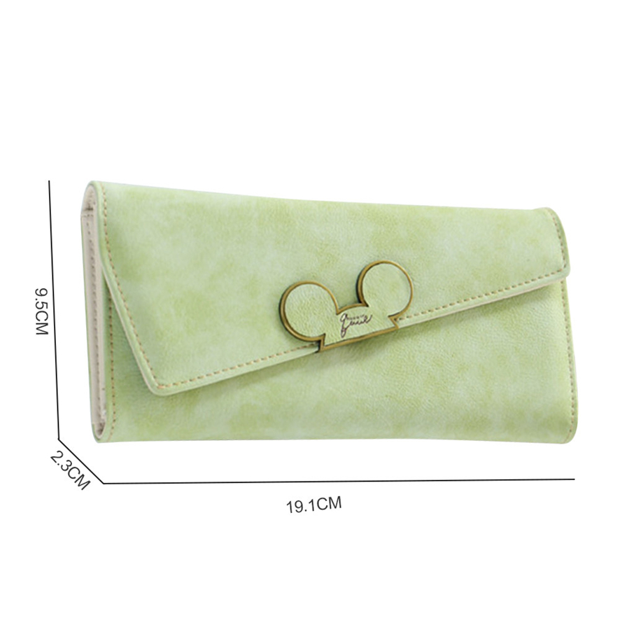 BENVICHED Fashion Designer Color Scrubs Long Women Wallet Ladies Mickey Phone Purse Coin Purses Holders Lady Pocket Wallets D232