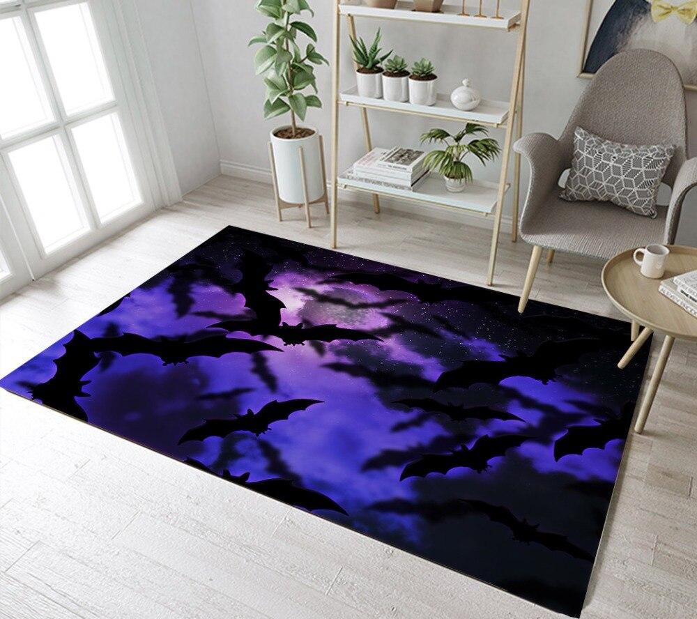 Bats In Purple Sky And Moon Living Room Area Rugs Bedroom Carpets Children S Floor Cushion Bathroom Non Slip Mat Bath Mats From Home