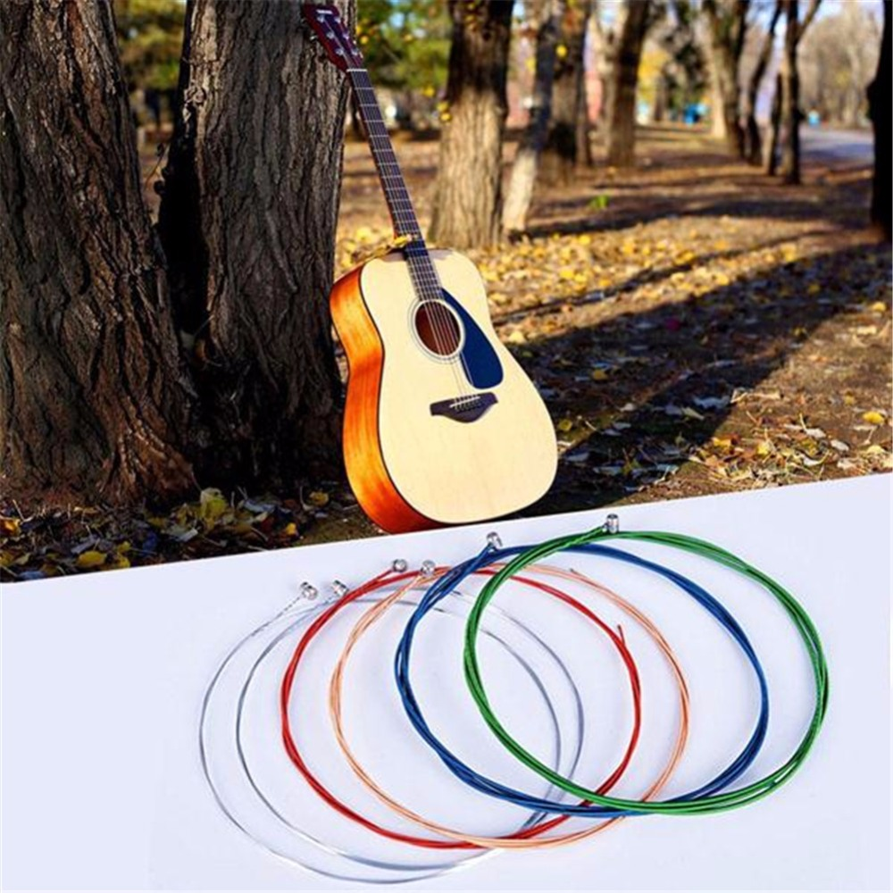 6 sets colorful Steel Clear Strings Acoustic Classical Guitar Musical Accessories Easy to distinguish study useful 3 sets alice aw466 light acoustic guitar strings plated high carbon steel