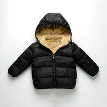 2017Autumn Winter new fashion boys girls solid hooded cotton coat arctic velvet thicker coat short section