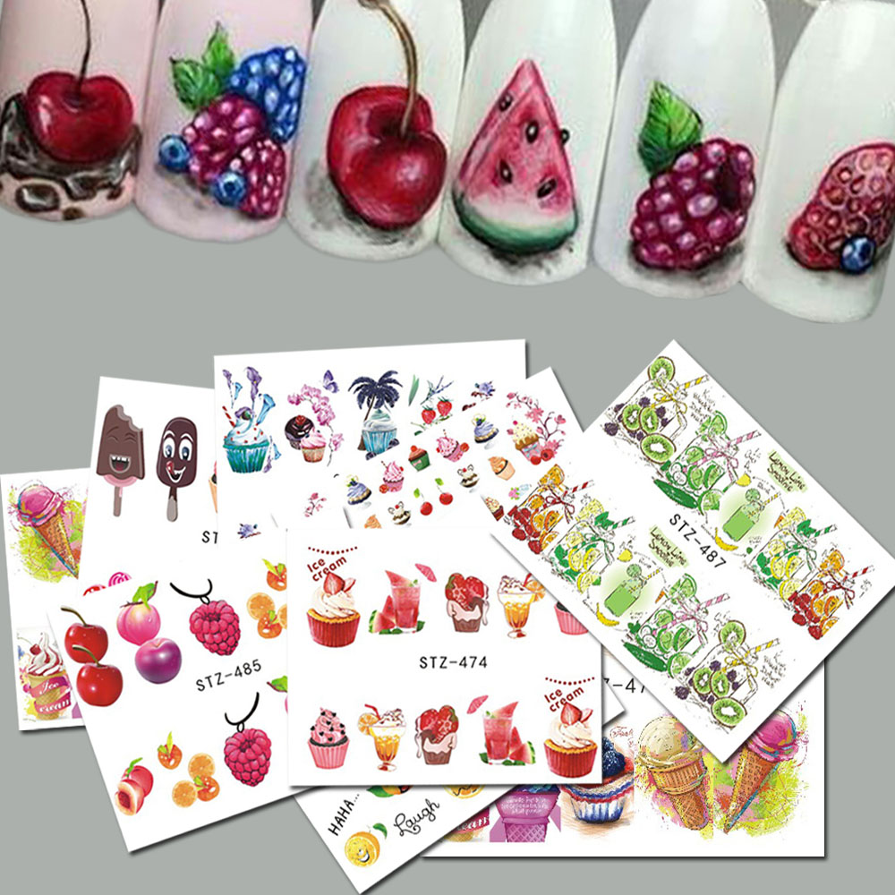 18pcs Sweets Ice Cream Summer Nail Sticker Mixed Colorful Fruit DIY Water Decals Nail Art Decorations Manicure Tool TRSTZ471 488-in Stickers & Decals from Beauty & Health