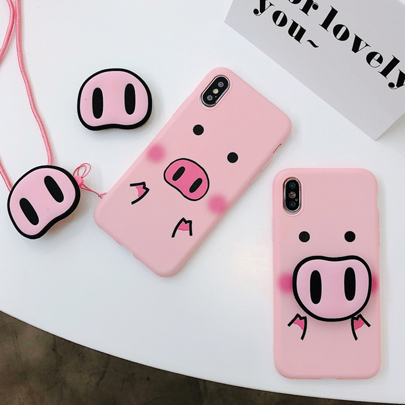 new style 1d930 61cdc US $3.89 20% OFF|Cute Pink Case For iPhone X 7 Plus XS 10 Case Silicone  Phone Stand Holder Cover For iPhone 6S 8 6 Plus XS Max Case Pig Lanyard-in  ...