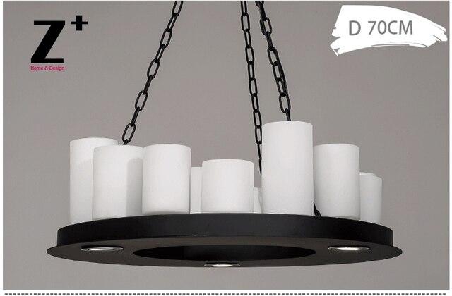 Led industriel Vintage pilier bougie candélabre rond lustre en fer forgé métal E27 livraison gratuite