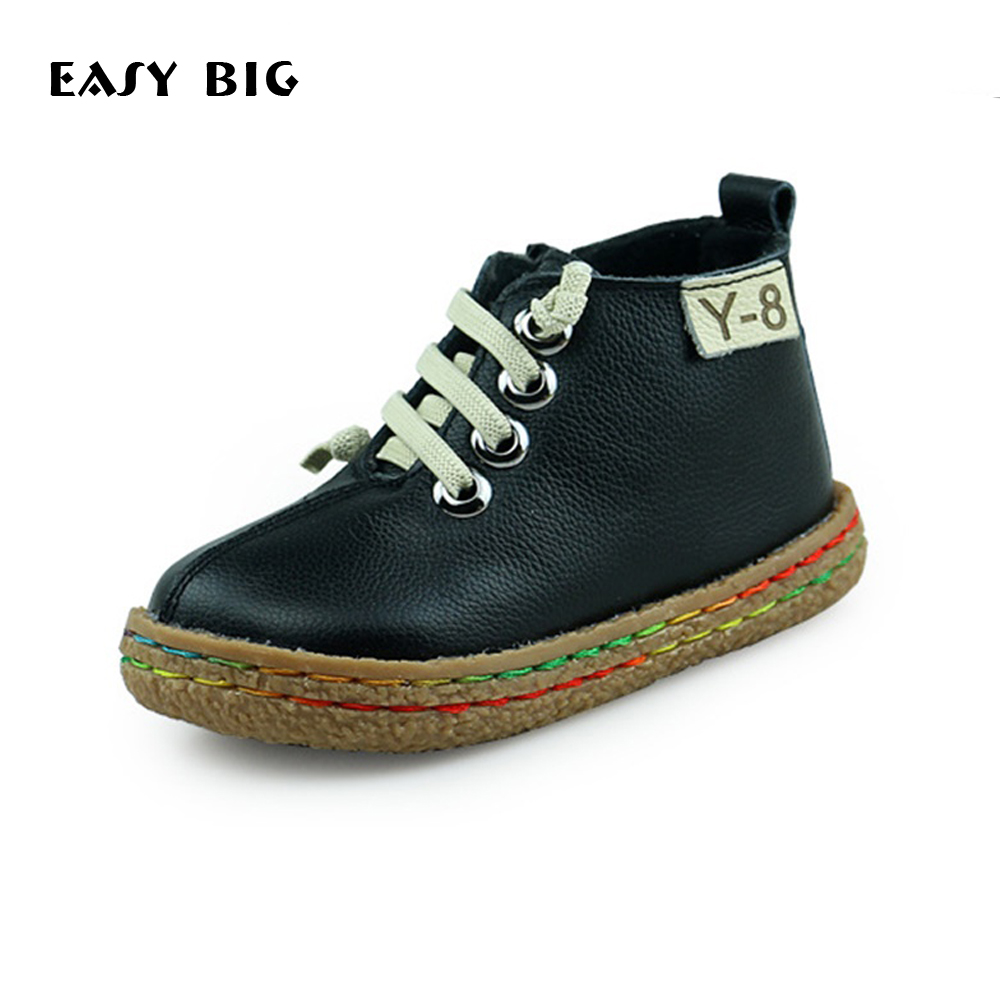 EASY BIG Winter Warm Plush Inside Anti-slip Children Boots Genuine Leather Boys Shoes Kids Sneakers Girls Snow Boots Flats Shoes babyfeet 2017 winter fashion warm plush high top genuine cow leather children ankle girls snow boots kids boys shoes sneakers