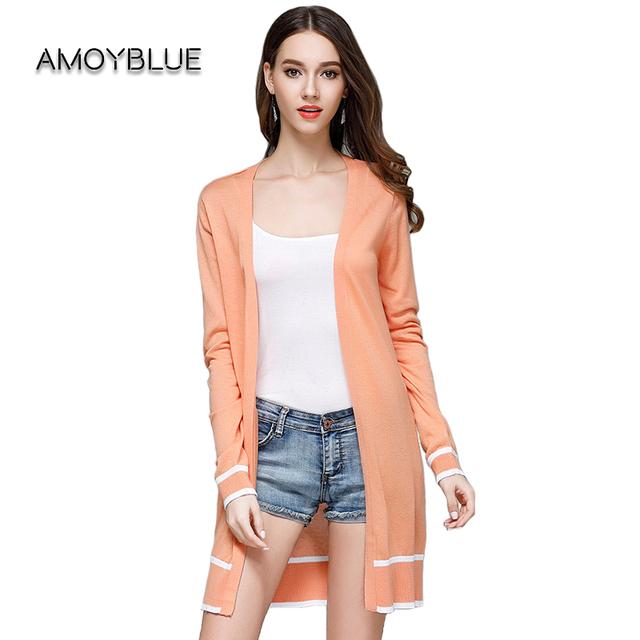 Amoyblue Long Knitted Cardigan Coat 2017 Summer Women Knitting ...