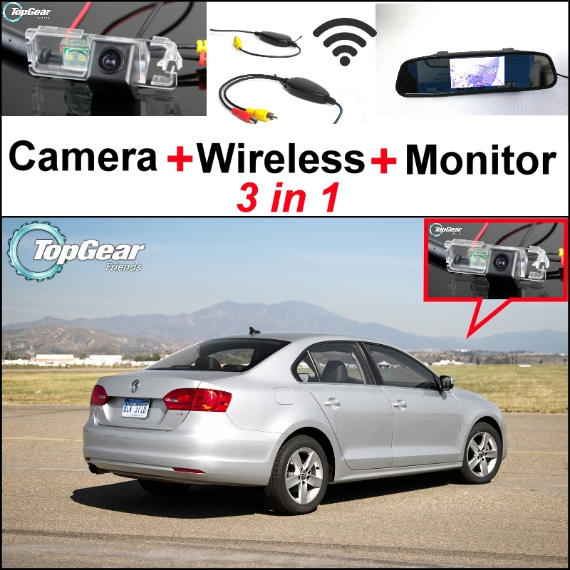 3 in1 Special Rear View Camera + Wireless Receiver + Mirror Monitor Easy DIY Parking System For Volkswagen VW Jetta MK6 New Bora wireless pager system 433 92mhz wireless restaurant table buzzer with monitor and watch receiver 3 display 42 call button