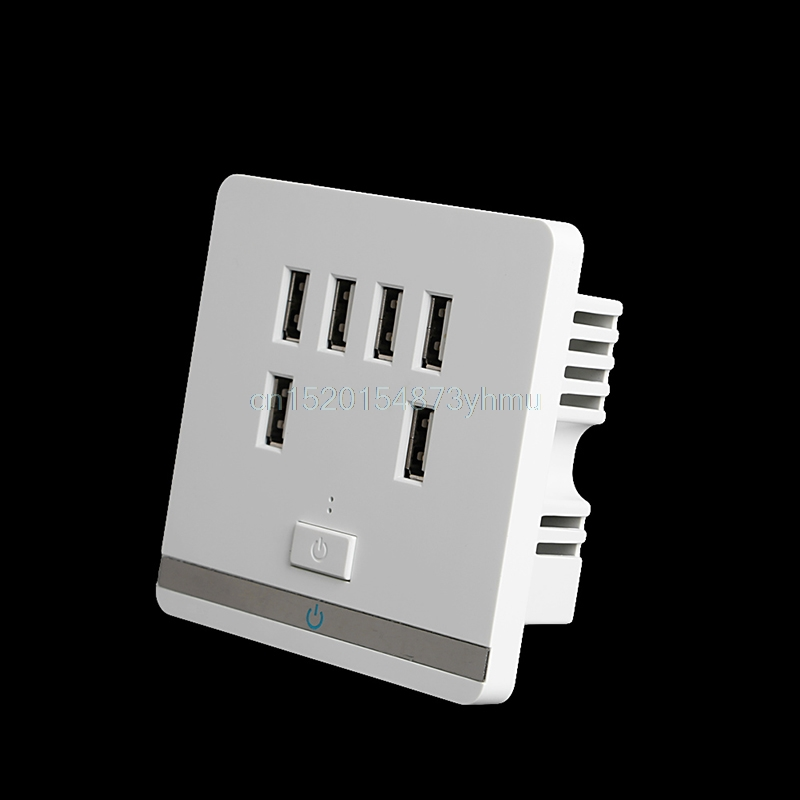 6 Port USB Wall Charger Socket Power Receptacle Outlet Plate Panel Switch HOT