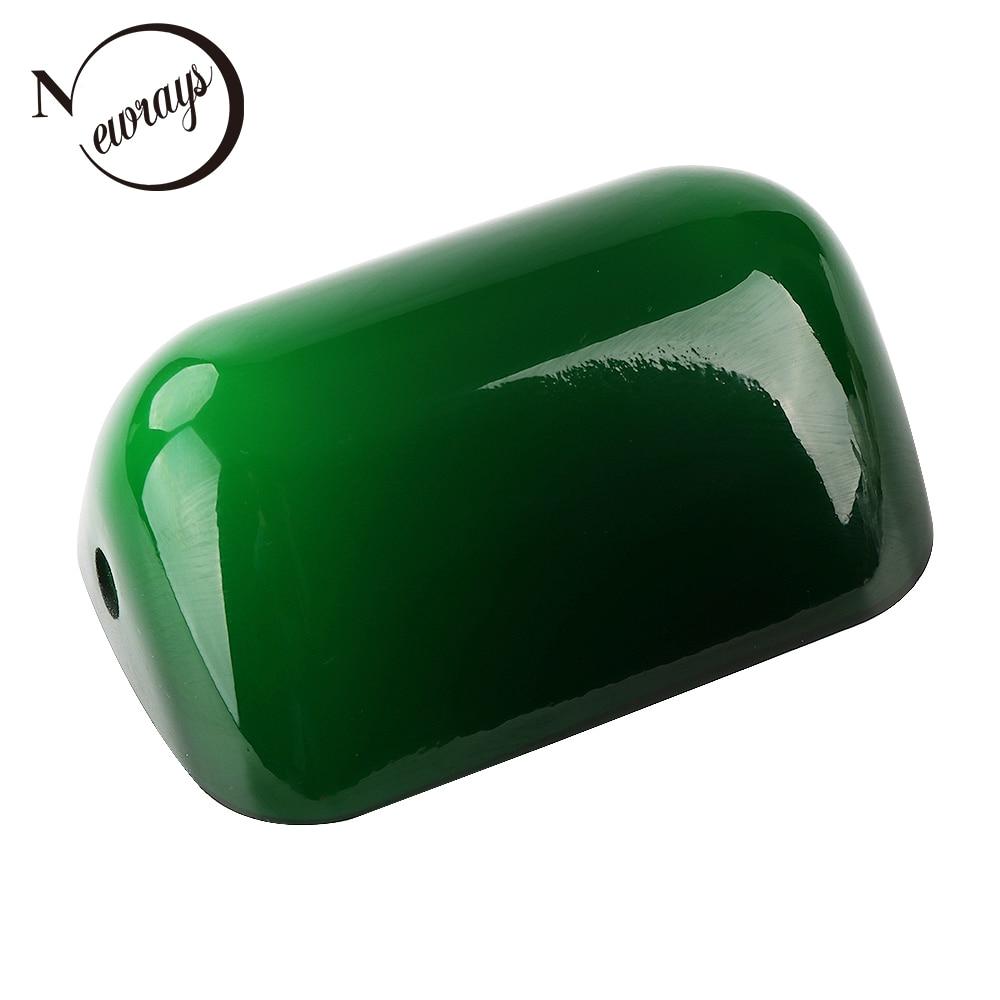 Verre banquiers couvercle de la lampe Lampe Banquiers Vert/blanc verre fumé Tubé Remplacement taille L15 cm W9.5 cm abat-jour