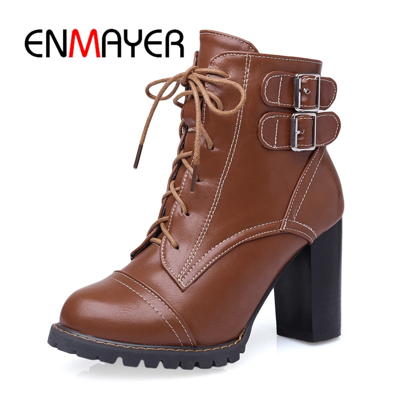 ENMAYER 2018 Top quality women High heels round toe martens boots lady lace up ankle boots motorcycle boots Size 34-46 ZYL176 enmayer shoes woman supper high heels ankle boots for women winter boots plus size 35 46 zippers motorcycle boots round toe