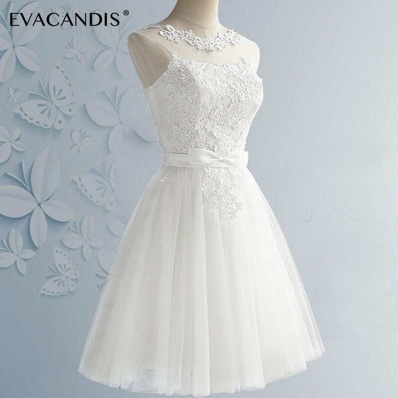05e977ab1a31 € 23.71 38% de DESCUENTO|Vestido corto de fiesta de encaje talla grande  blanco sin mangas sin espalda fiesta de graduación elegante vestido de  verano ...