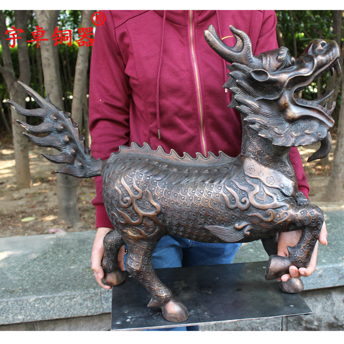 Yu Zhuo bronze copper kylin of auspicious decoration Home Furnishing lucky giftsYu Zhuo bronze copper kylin of auspicious decoration Home Furnishing lucky gifts