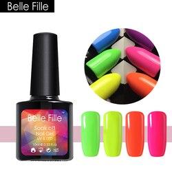 Belle Fille Neon Farbe Gel Nagellack UV Tränken Weg Von Shinning Lack Fluoreszenz Candy Farbe Gel Nagellack Design Kunst