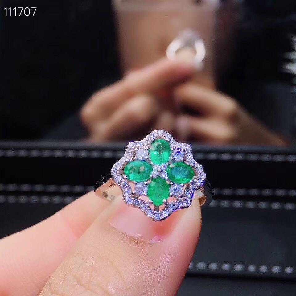 Natürliche 3*4mm Kolumbien smaragd Ringe s925 sterling silber blumen edlen Schmuck für frauen partei Natürliche grün edelstein-in Ringe aus Schmuck und Accessoires bei  Gruppe 1