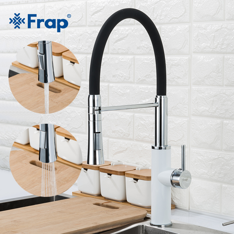 Frap kitchen sink faucet pull out black white faucet water tap chrome Swivel Spout Kitchen Sink Tap Deck Mounted Mixers