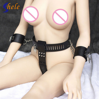 Female Chastity Belt Faux Leather Fetish Bondage Harness+ Handcuffs Erotic Adult Games Sex Toys For Woman Slave BDSM Flirting