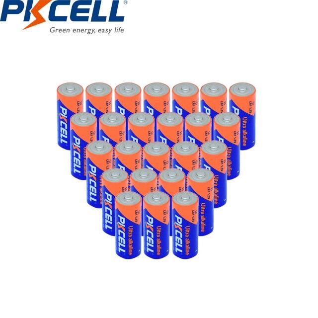 25PCS PKCELL אולטרה אלקליין סוללות E90 N LR1 MN9100 910A 1.5V גודל N אלקליין סוללה יבש ויסודי סוללות עבור Bluetooth