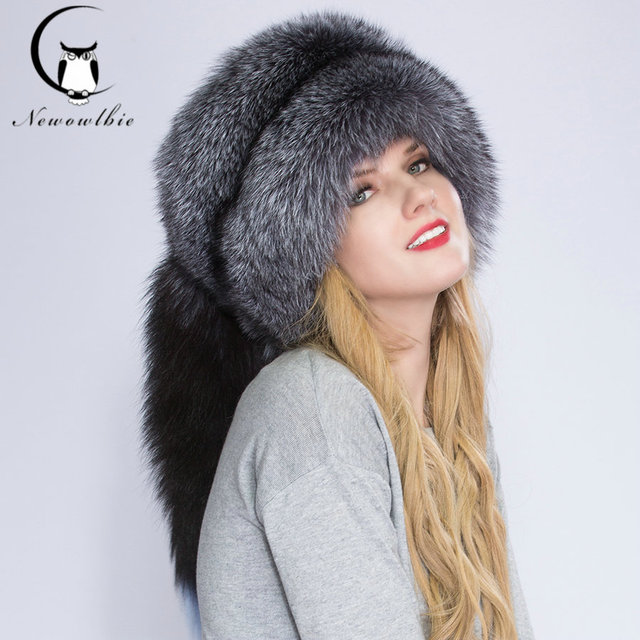 4a809f4aff984 Real Fox fur Princess Hat Mongolia hat Unique process Fox tail Design  Luxury Winter Keep Warm Hats For Fashion Women
