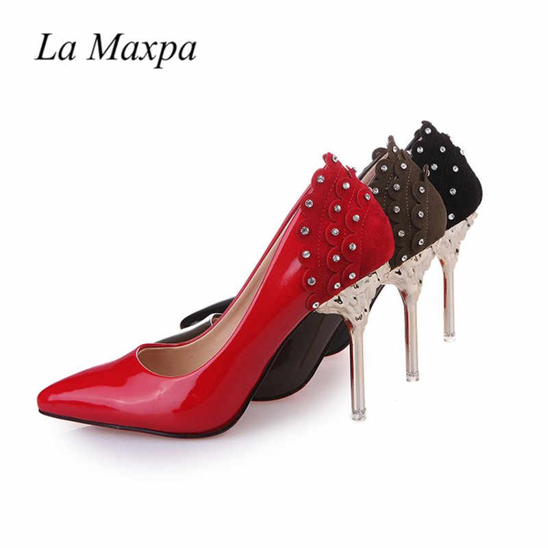 low priced cbc5c c7c9c 2018 Crystal Wedding Shoes Pumps Women Red Luxury Shoes Ladies Designers  Red Bottom High Heels Shoes Female Party Autumn Pumps