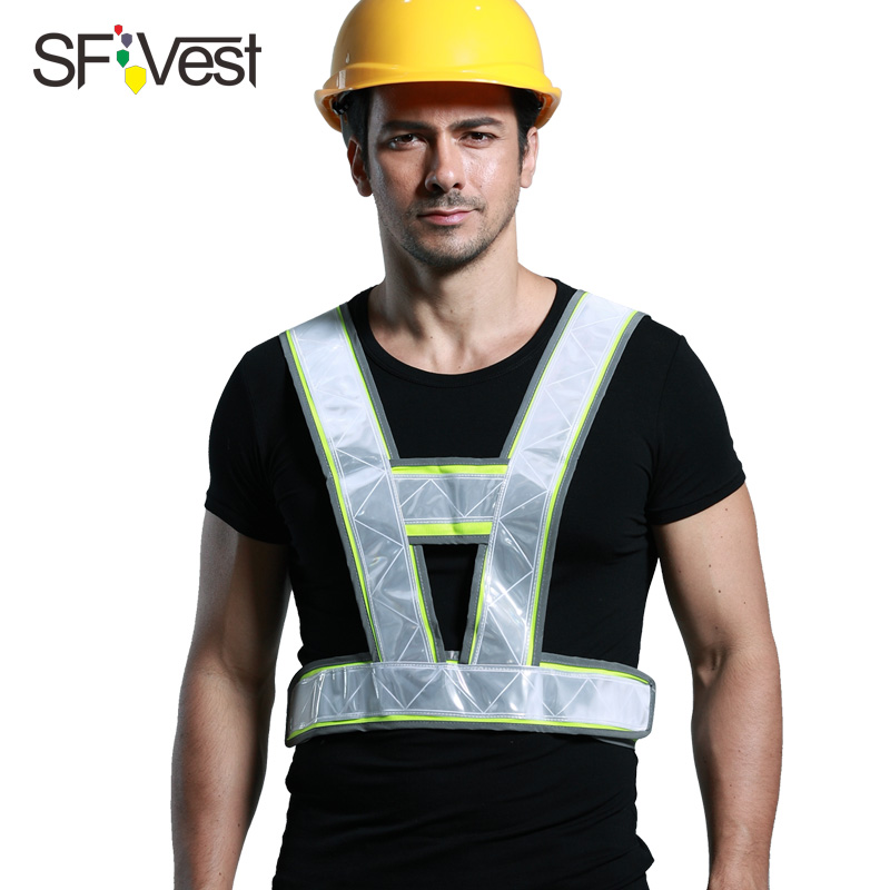 SFVest company logo printing safety reflective vest logo can be printed traffic waistcoat with reflective crystal lattice customized badge holder lanyard company logo print personalized lanyard printing badge accessories