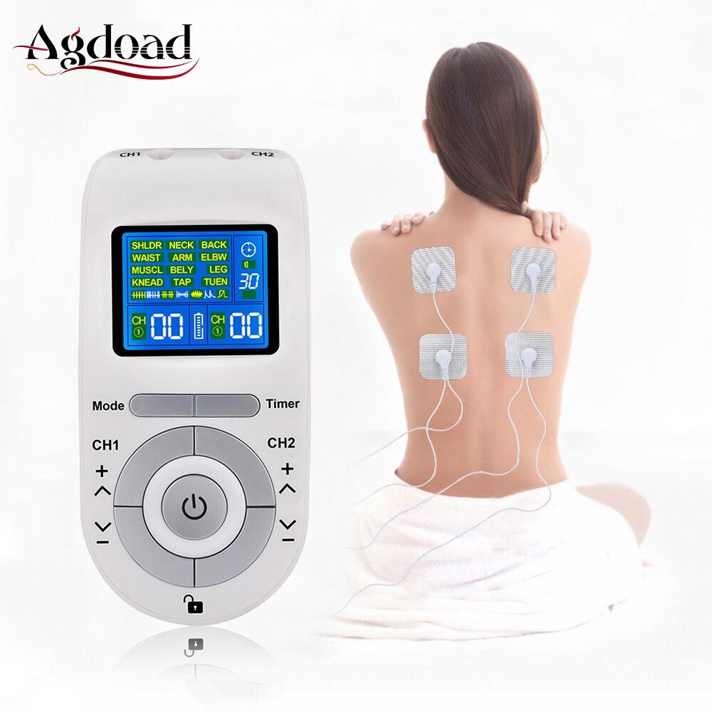 Unité de Machine de dizaines de 12 Modes avec 4 électrodes pour le soulagement de la douleur Massage d'impulsion EMS Stimulation musculaire dizaines électroestimulador