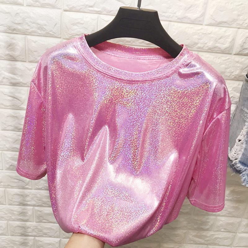 Daddy Chen Glitter T Shirt Loose Femme Bling Tops for Women Short Sleeve O Neck Clubwear Fashion High Street Roupas Feminina 10