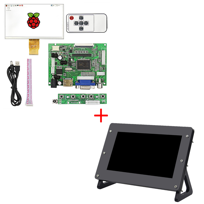 7inch Raspberry Pi 3 B+ LCD TFT Display 1024*600 50pin Monitor Screen Module +Driver Board HDMI VGA+ Acrylic Holder Case +Remote 7inch capacitive touch lcd display 1024 600 resolution tft screen demo board module rgb and lvds interface ft5206ge1 controller