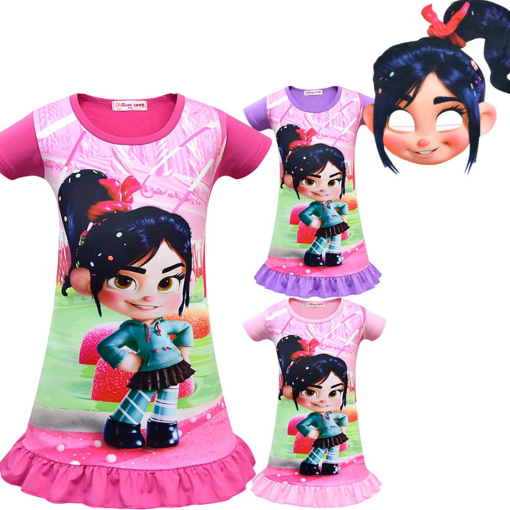 Wreck-It Ralph 2 Vanellope von Schweetz mask Cosplay Costume Children Kids Girl's dress Cosplay Summer girl fashion pajamas