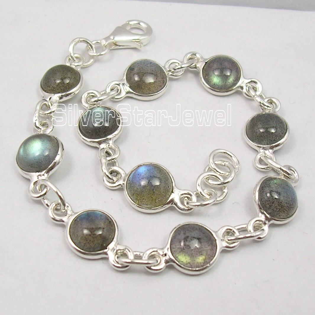 Silver Real BLUE FIRE LABRADORITE HANDMADE Bracelet 8 1 8 Inches