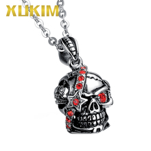 SSP063 Xukim Jewelry Hip Hop 316L Stainless steel Skull Pendant Necklace vintage 316l stainless steel skull skeleton necklace pendant for motorcycle party punk gem necklace hip hop men jewelry