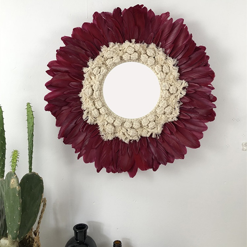 Гобелены ручной работы перо стекло зеркало креативное художественное украшение круглое зеркало для гостиной Настенное подвесное зеркало ...