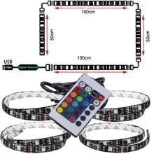 1ชิ้นUSB LED Stripสตริงไฟเทปโคมไฟ5050 SMD RGBสายUSBควบคุมระยะไกลสำหรับทีวีจอLCDพื้นหลังชุดควบคุมไฟ