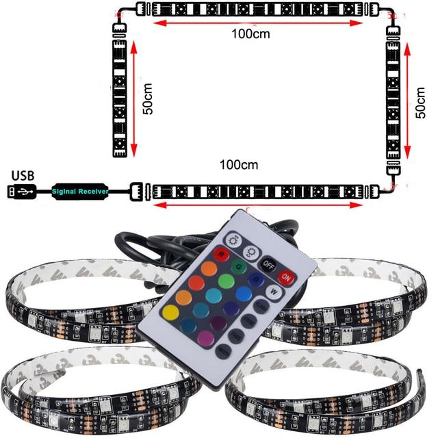 1 stks USB LED Strip Lichtslingers tape Lamp 5050 SMD RGB Usb kabel afstandsbediening voor LCD Monitor TV Achtergrond licht set