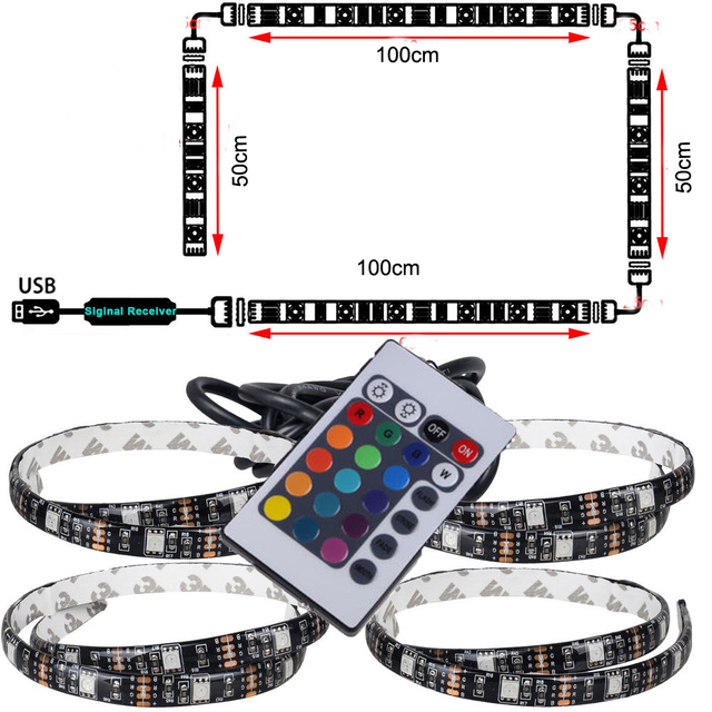 1pcs USB LED Strip String Lights tape Lamp 5050 SMD RGB USB Cable remote Controller for LCD Monitor TV Background light set