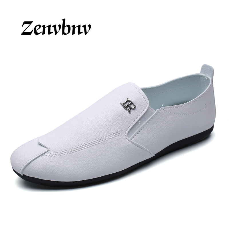 ZENVBNV 2017 New Men Casual PU leather Loafers Solid Leather Driving Moccasins Slip on Flat Shoe Men Formal Loafers Shoes Male dxkzmcm new men flats cow genuine leather slip on casual shoes men loafers moccasins sapatos men oxfords