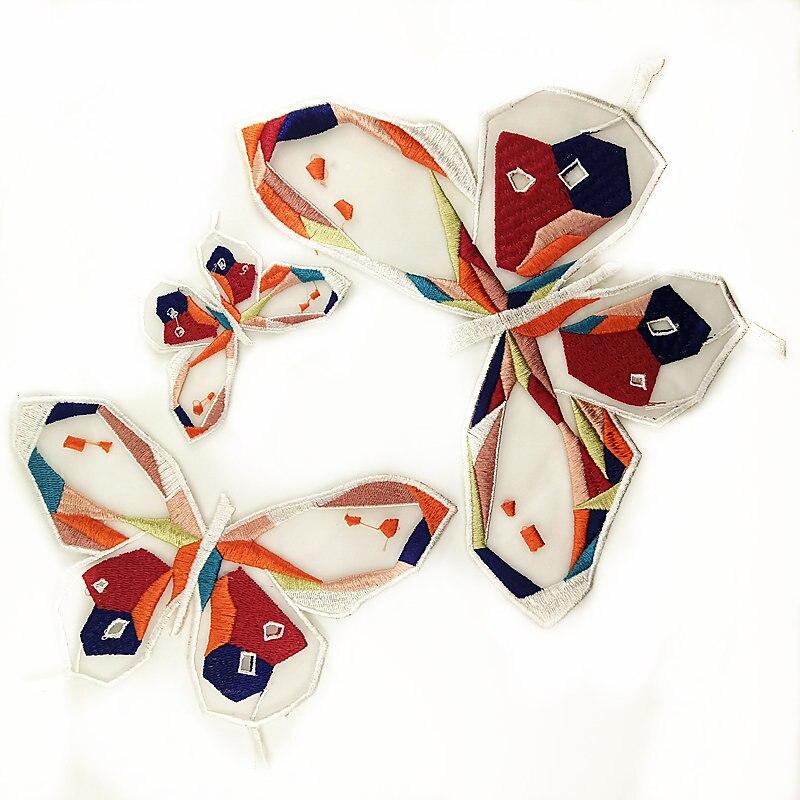 1 Juego de parches de tela de encaje mariposa bordados, apliques de costura artesanal para ropa P0044