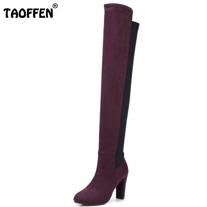 TAOFFEN Women High Heel Boots Fashion Over Knee Shoes Women's Winter Warm Boots Sexy Long Botas Footwear Size 34-43 стоимость