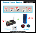 Wireless Queue Coaster Pager For Restaurant;1pcs Transmitter And 10pcs Vibrating Restaurant Pagers 1 Charger Base