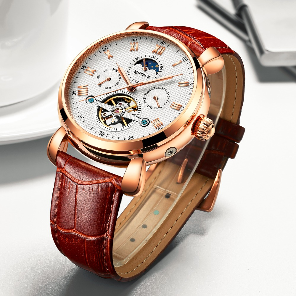 KINYUED Business Men Watches Skeleton Mechanical Automatic Self-Wind Mens Watch Moon Phase Calendar Montre Homme Automatique kinyued men s watches automatic self wind fashion brand moon phase mechanical watch men skeleton male horloges