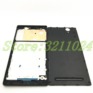 Image 2 - דיור מלא עבור Sony Xperia T2 Ultra יחיד/כפול כרטיס שיכון כיסוי הלוח הקדמי התיכון אמצע מסגרת לוחית סוללה חזרה כיסוי + לוגו
