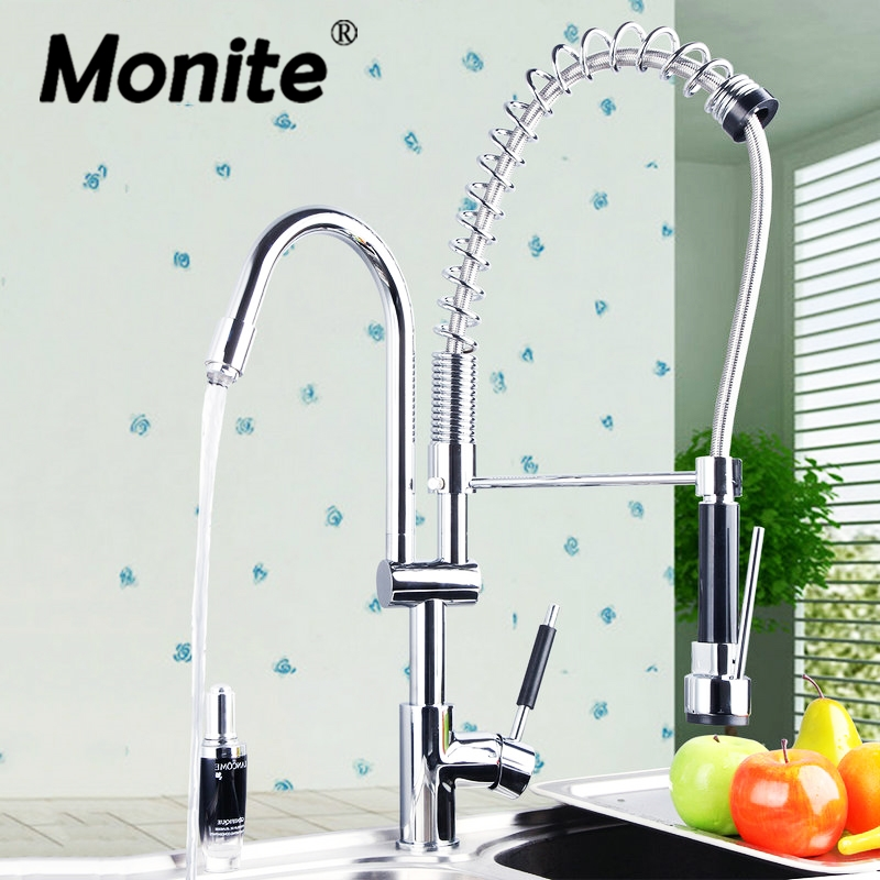Double Handles Free Chrome Brass Water Kitchen Faucet Swivel Spout Pull Out Vessel Sink Single Handle Mixer Tap newly chrome brass water kitchen faucet swivel spout pull out vessel sink single handle deck mounted mixer tap mf 302